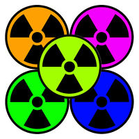 Nuclear Radiation Decal - Radiation Symbol Sticker - Choose Color Size