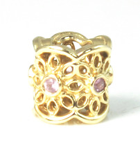 Beautiful Pandora 14k Gold Radiance & Pink Sapphire Charm Bead 750803 Retired