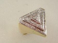 10K LARGE DIAMOND RING - 10 KARAT GOLD HIP HOP PYRAMID DIAMOND TRIANGLE TOP RING