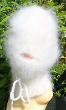 Mohair Balaclava Balaklava fuzzy thick langhaarig Schlüpfmütze weiß Mundöffnung