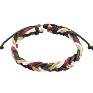 1 Wine Red Braided Leather Bracelet 7 15/32-9 27/32in New Jewelry By Coolbody