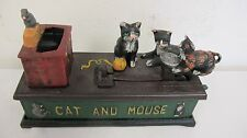 CAST IRON MECHANICAL BANK CAT  MOUSE