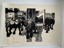 Large 1988 Danny Pierce Woodblock Woodcut Print To The Loading Dock Edition 1/10
