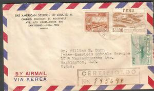 Peru 1955 registered cover American School Of Lima Colegio Franklin Roosevelt DC