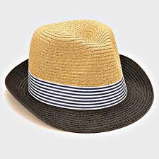 82e87bbc249f9 Unisex Men Women Two-tone Striped Straw Fedora Hat Trilby Cuban Cap SR Black