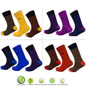 Socksology® Mens Bamboo Anti bacterial Socks Anti Odor Polka Dot Striped Motifs
