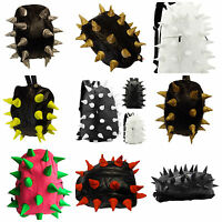 Black soft faux leather unisex spiked goth Emo punk hedgehog rucksack backpack