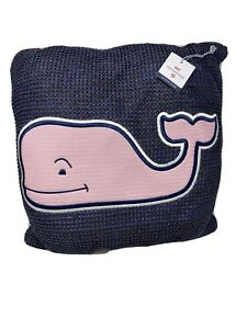 """Vineyard Vines Target Exclusive Pink Whale Throw Pillow 20""""x 20"""" Navy Blue NEW"""