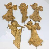 Gold Angel Vintage Christmas Plant Pot Pick Holiday Musical Plastic Hong Kong