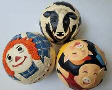Vtg Lot 3 BRIERE Folk Art Pull Toy Raggedy Ann Three Little Pigs Cow FreeUShip