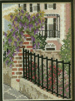 Garden Walk Counted Cross Stitch Pattern from a magazine Row House With Wisteria