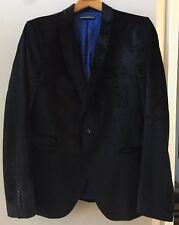 Drykorn Cotton Blend Velvet Black Croc Embossed Blazer Suit Jacket Sz 42 EU 52