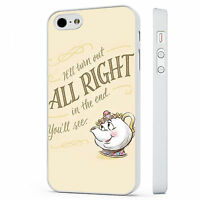 Disney Beauty And The Beast Mrs Pott WHITE PHONE CASE COVER fits iPHONE 4 5 6 7