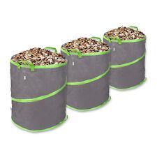 Schramm® 3 Stück Pop-Up Gartensäcke 85L Grün / Grau Stabiles Polyester Oxford