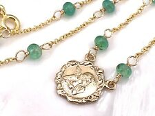 14k Yellow Gold & Colombian Emerald Thinking Angel Station Chain Necklace, New