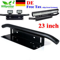 23inch Offroad LED Light Bar Front Bumper License Plate Mount Bracket Holder