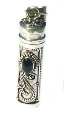 New Sterling Silver Black Onyx Cylinder Prayer Box Pendant Urn Jewelry 1 3/4 In.