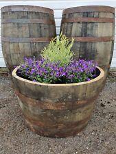 More details for large oak half whisky barrel tree shrub bush flower garden planter pot tub
