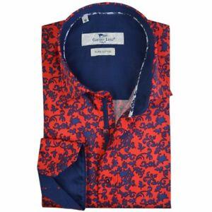 Men's Printed Shirt Slim Fit Long Sleeve Cotton Sizes S, M Claudio Lugli Flowers