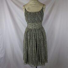 Anthropologie Floral Silk Dress By Anna Sui Size 6 Spaghetti Straps Festive