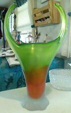 Huge 17 3/4 inch Murano glass vase satin acid finish
