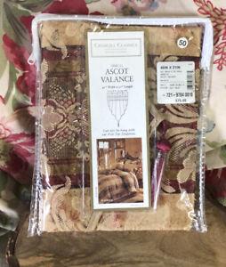 "Croscill Classics Regent Ascot Valance Red Gold Multi Poly Blend 40""W X 27"" NEW"