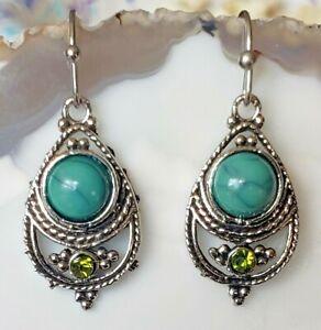 Antiqued White Gold Plated Teardrop Jade & Peridot Earrings