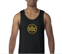 US Border Patrol Tank Top Immigration Sleeveless Shirt Black Yellow  S-3XL