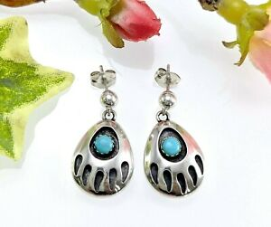 Sterling Silver Turquoise Bear Claw Drop Earrings - Quoc Turquoise