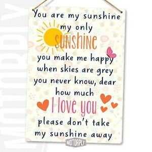 Metal Wall Sign - You Are My Sunshine Hearts - Love Girl Friends Gift Family