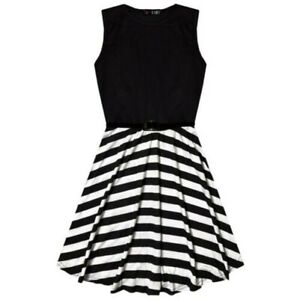 Kids Girls Skater Dress Striped Contrast Panel Summer Party Dance Dresses 7-13Yr