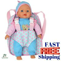 "Soft Body Baby Doll 12"" Backpack Carrier Kids Toddler Toy Briefcase Pocket Vinyl"