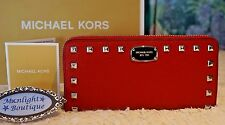 NWT MICHAEL KORS JET SET Studded Zip Around Continental Wallet RED Leather $198