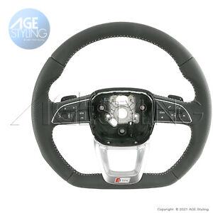 OEM Audi Q7 4M S-Line FLAT BOTTOM Multimedia Steering Wheel Gear Paddles 2017-20