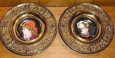 Pair Of Antique Porcelain Portrait Bowls In Metal Frames - Incised Letter B