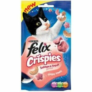 Felix Crispies Gatto Snack con Sapore Con Salmone & Proteine Vitamine 45g Conf.