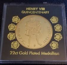 More details for henry viii 22ct gold plated quincentenary medallion (1991) in presentation box
