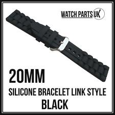 * Estilo de enlace 20mm Negro Pulsera Silicona Goma Reloj Correa De Alta Calidad 20mm *