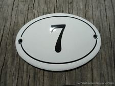 SMALL ANTIQUE STYLE ENAMEL DOOR NUMBER 7 SIGN PLAQUE HOUSE NUMBER FURNITURE SIGN