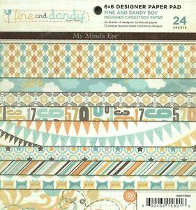 Fine & Dandy Boy Blue Green Yellow Patterns My Mind's Eye 6 x 6 Paper Pad