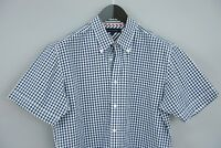 Men Tommy Hilfiger Casual Shirt Short Sleeves Blue Check Cotton M VBA490