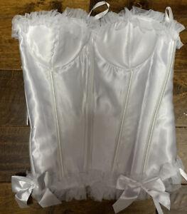 Sexy White Lace Up Zipper ruffles bows Corset Wedding Costume Lingerie FREE SHIP