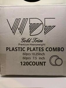 WDF 120 pieces Gold Disposable Plastic Plates- Gold Rim Wedding Party Heavy   OO