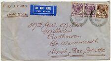 MALAYA IMPERIAL AIRMAIL to IRELAND 1937 STRAITS 10c PAIR + 5c PENANG to RATHOWEN