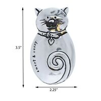 Silver Ring Trinket Tray Cat Shaped Jewelry Pewter Treasure Holder Smiley Cat