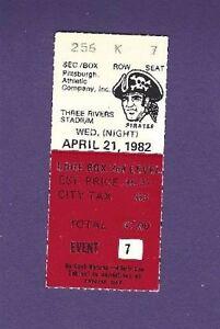 4/21/1982 St. Louis Cardinals @ Pittsburgh Pirates Baseball Ticket Stub