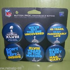 2014 NFL Super Bowl 48 XLVIII NY NJ pin Broncos Seahawks 6 BUTTON PACK