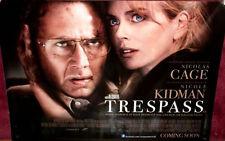 Cinema Poster: TRESPASS 2011 (Quad) Nicolas Cage Nicole Kidman Cam Gigandet