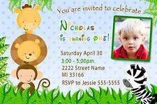 30 Invitations Jungle Kids Birthday Party Invites Boy Photo Personalized A1