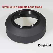 72mm3-in-1 Collapsible Rubber lens hood 4 Canon Nikon Sony Olympus Pentax Contax